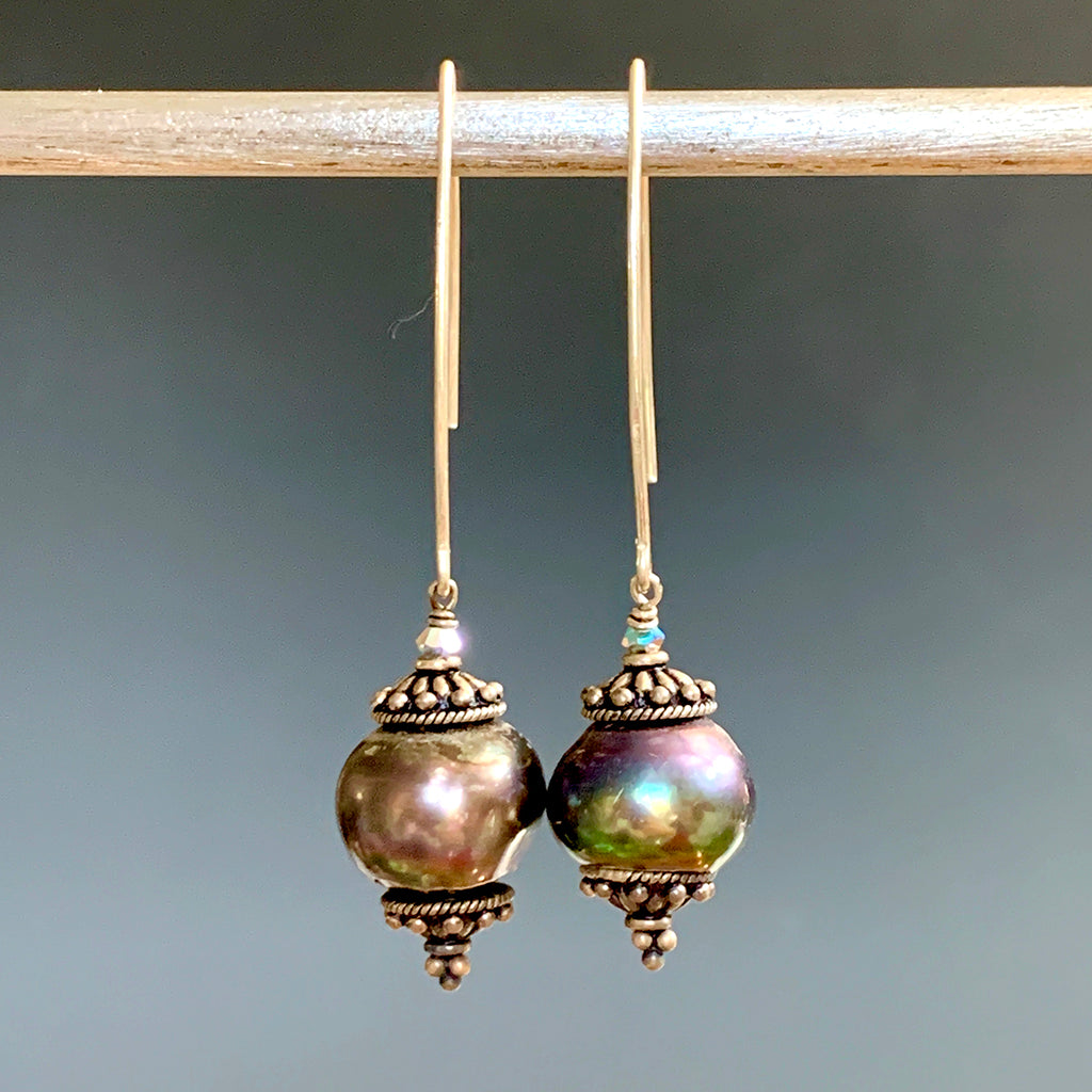Very Large Petrol Coloured Capped Pearls on Silver Arc Earrings