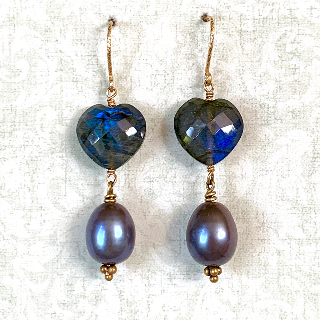 AAA Labradorite Hearts with Drop Pearl Earrings