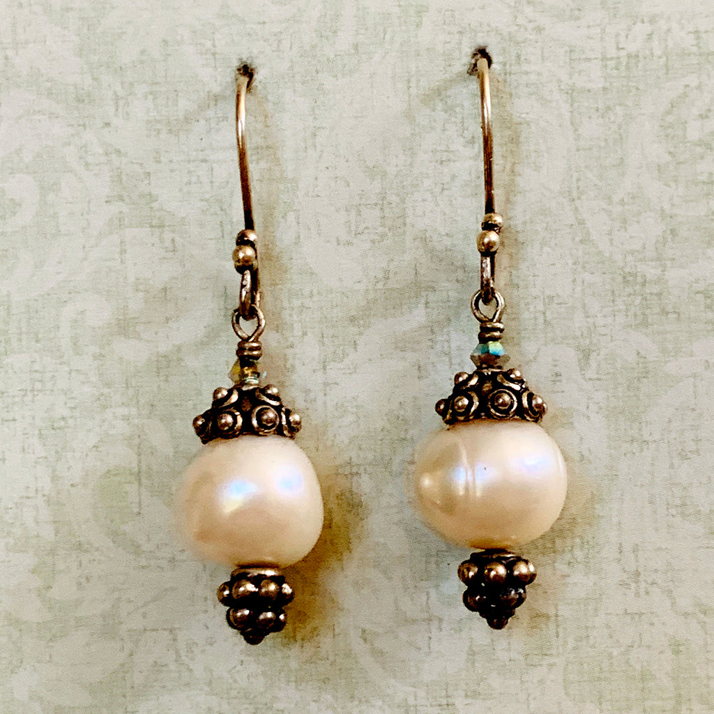 Top & Bottom Capped Oxidised Silver & Pearl Earrings