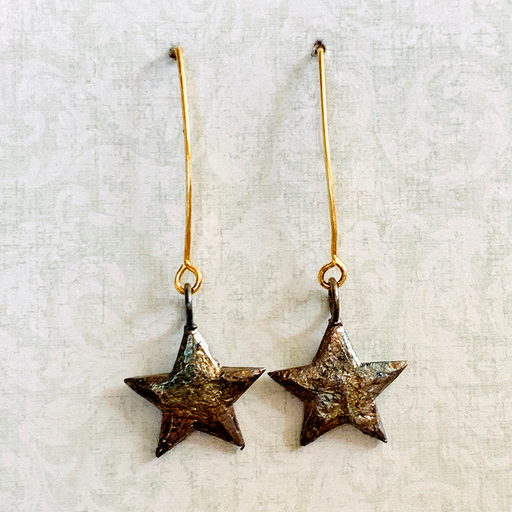 Oxidised Pewter Stars on Arc Earrings