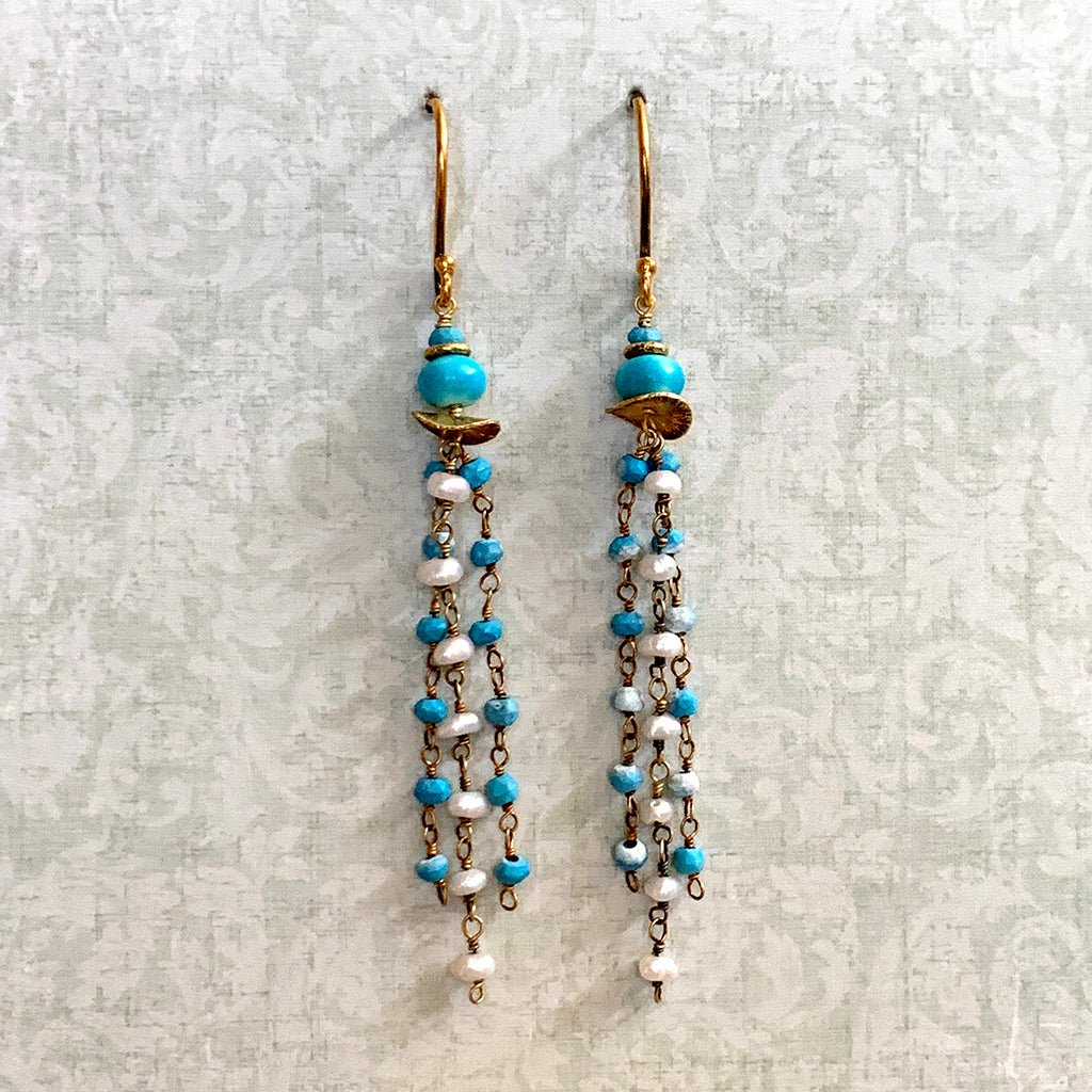 Turquoise & Pearl Tassel Earrings