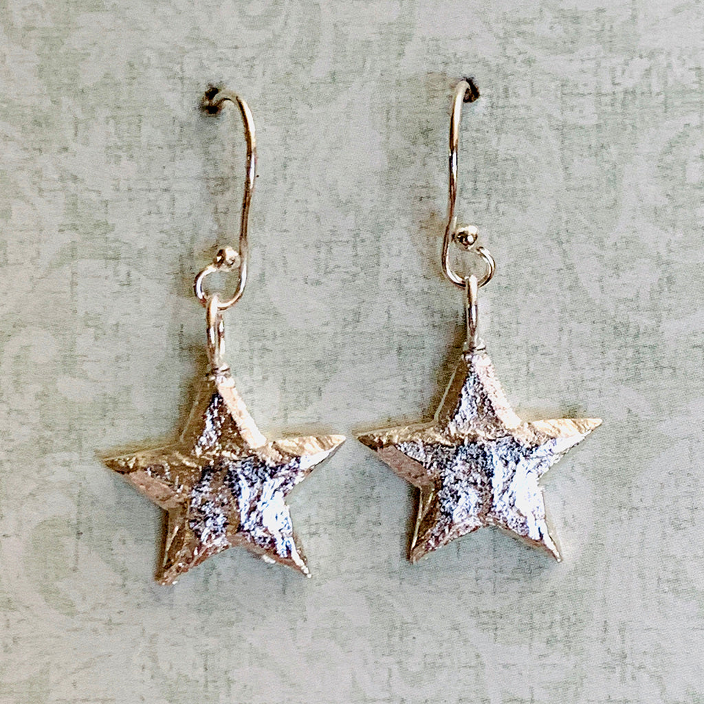 Silver Plated English Pewter Stars on Sterling Silver Earrings