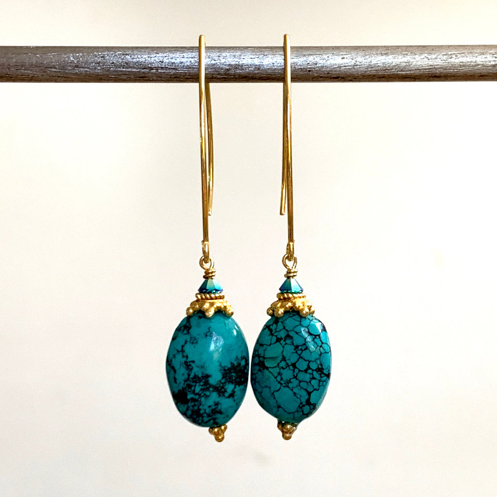 Genuine Chinese Turquoise Arc Earrings