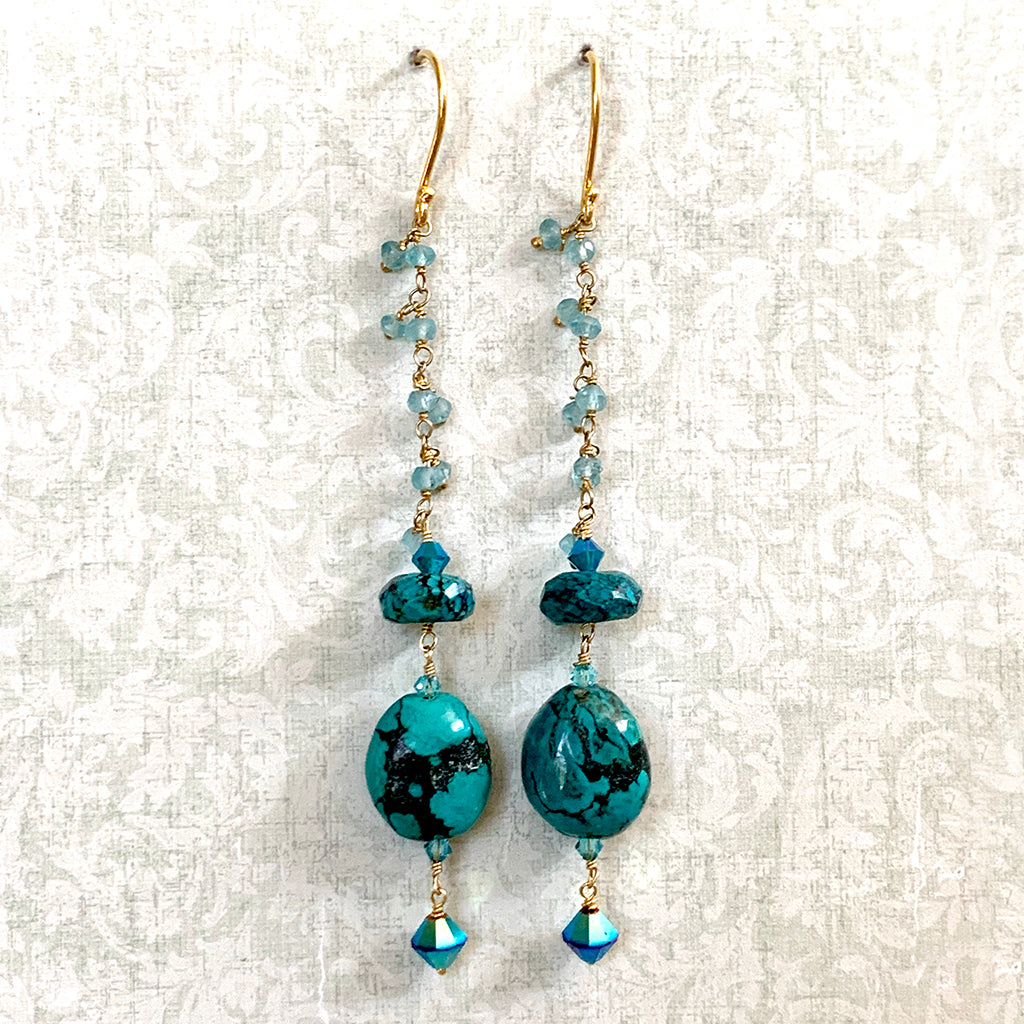 Extra Long Genuine Chinese Turquoise Earrings