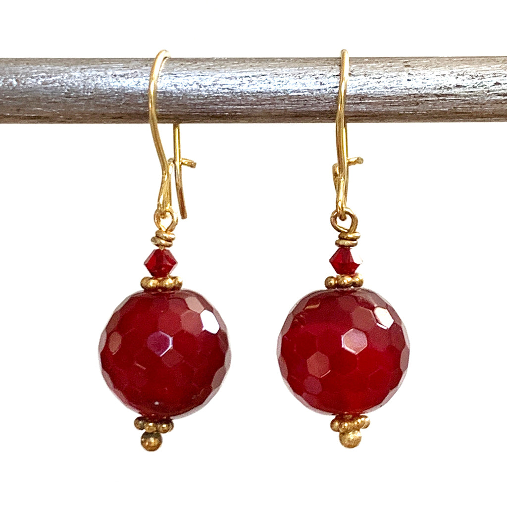 Ruby Coloured Faceted Globe Earrings