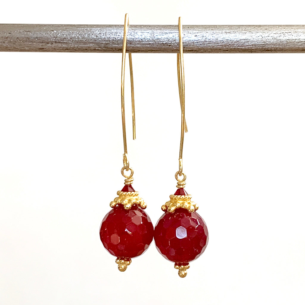 Ruby Coloured Faceted Collared Globe Arc Earrings