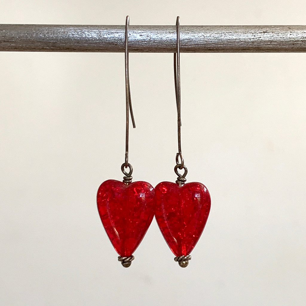 Crackled Red Glass Heart Arc Earrings