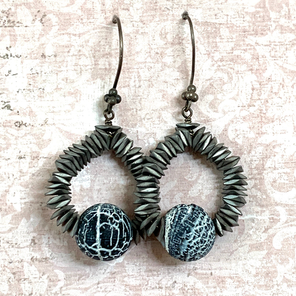 Grey Haematite & Zebra Stone Hoop Earrings