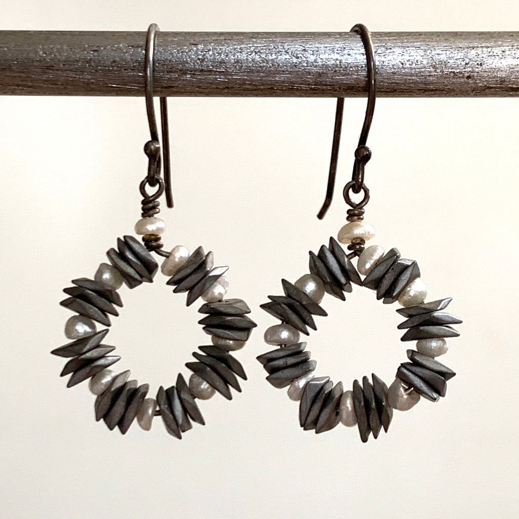 Grey Haematite Spaced with Pearls Hoop Earrings
