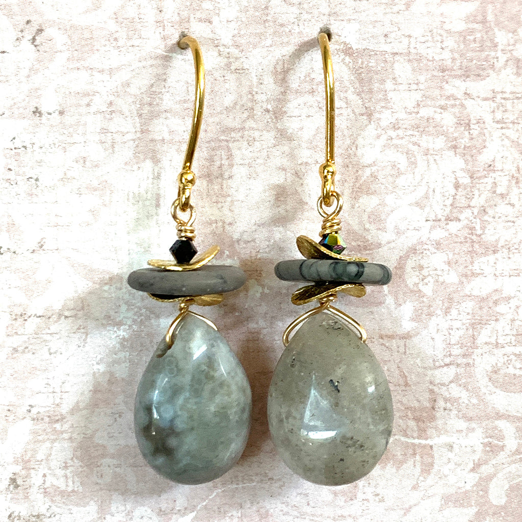 Grey Drop Agate with Gold Disc Earrings