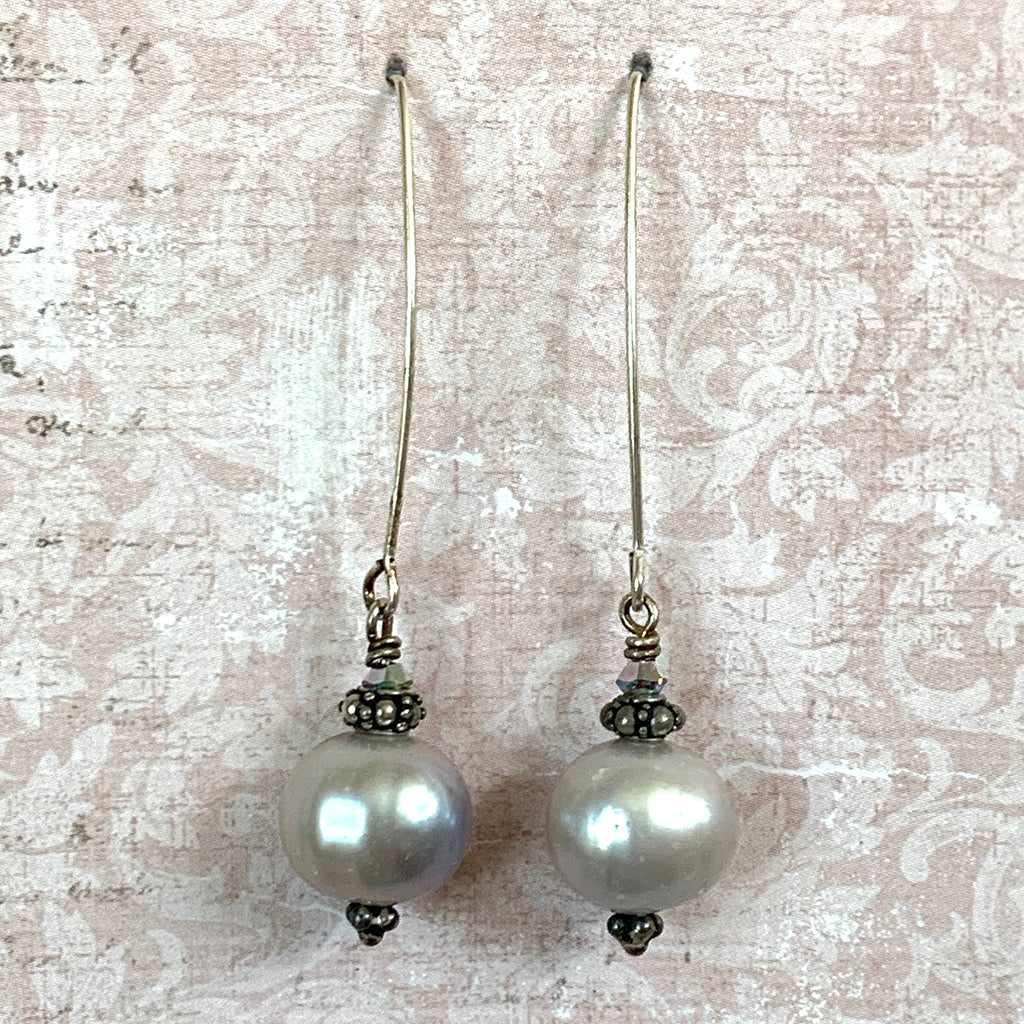 Large Dove Grey Pearls on Silver Arc Earrings