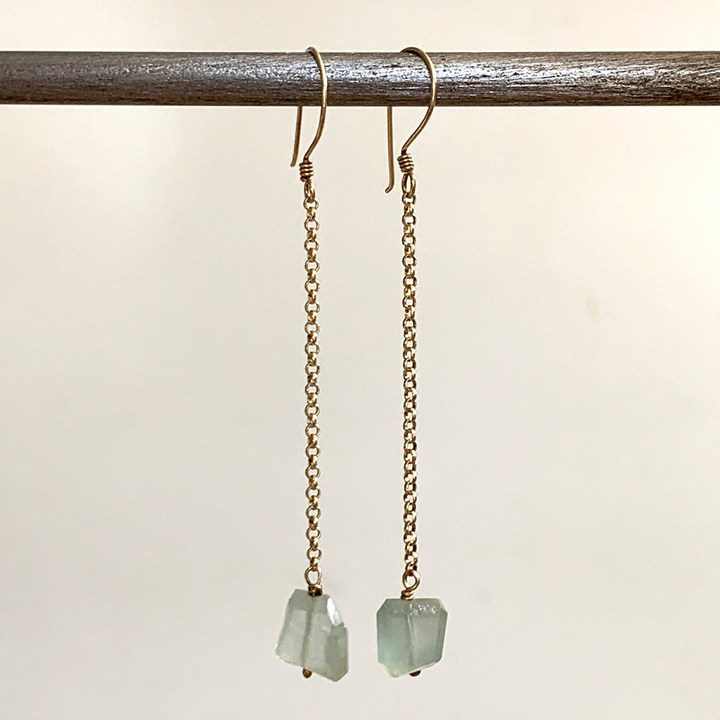 Rough Faceted Aquamarines on Gold Chain Earrings