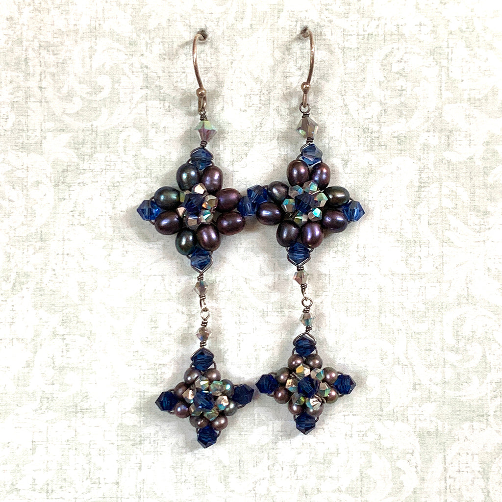 Navy Pearl & Crystal Baroque Style Earrings