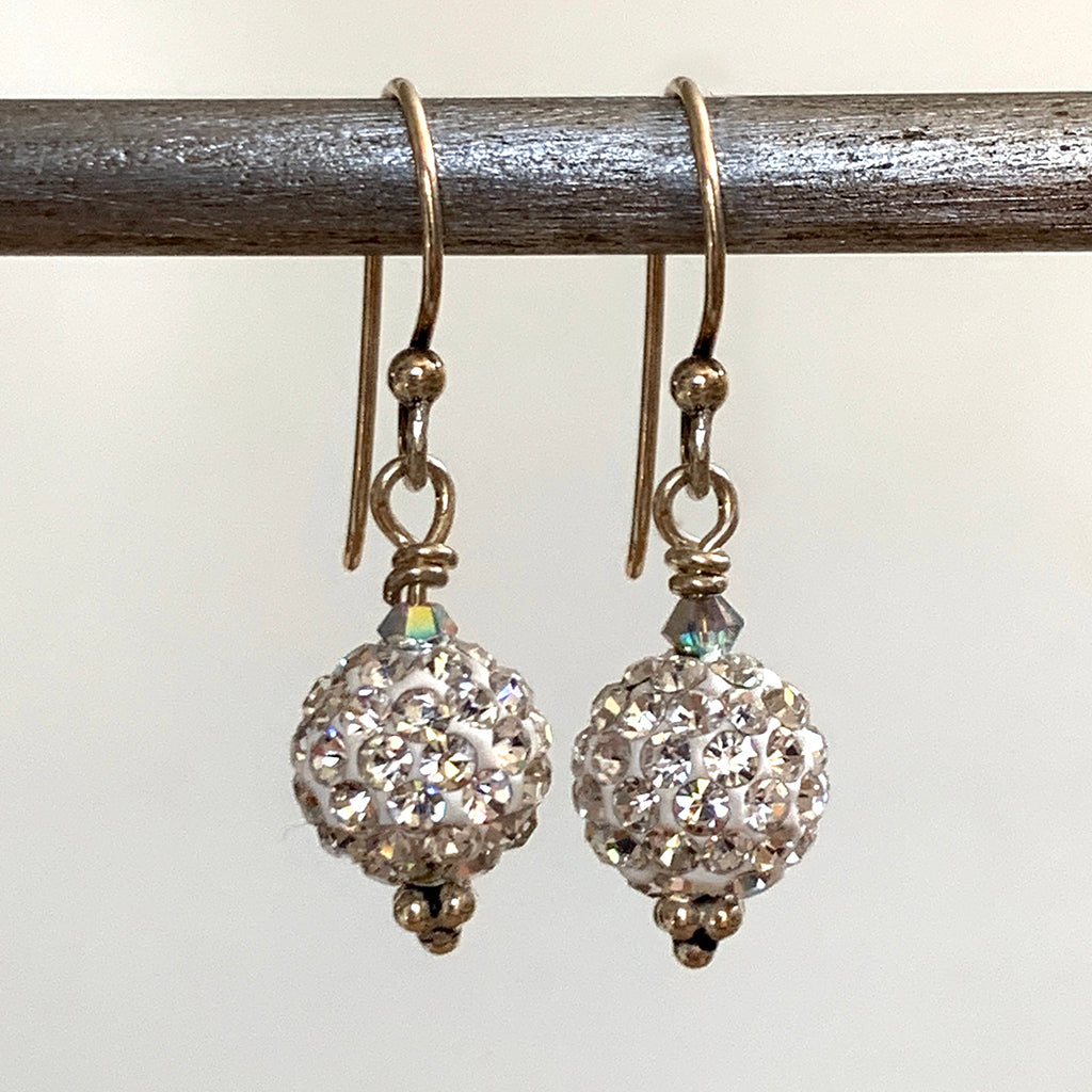 Diamante Shamballa Ball Earrings