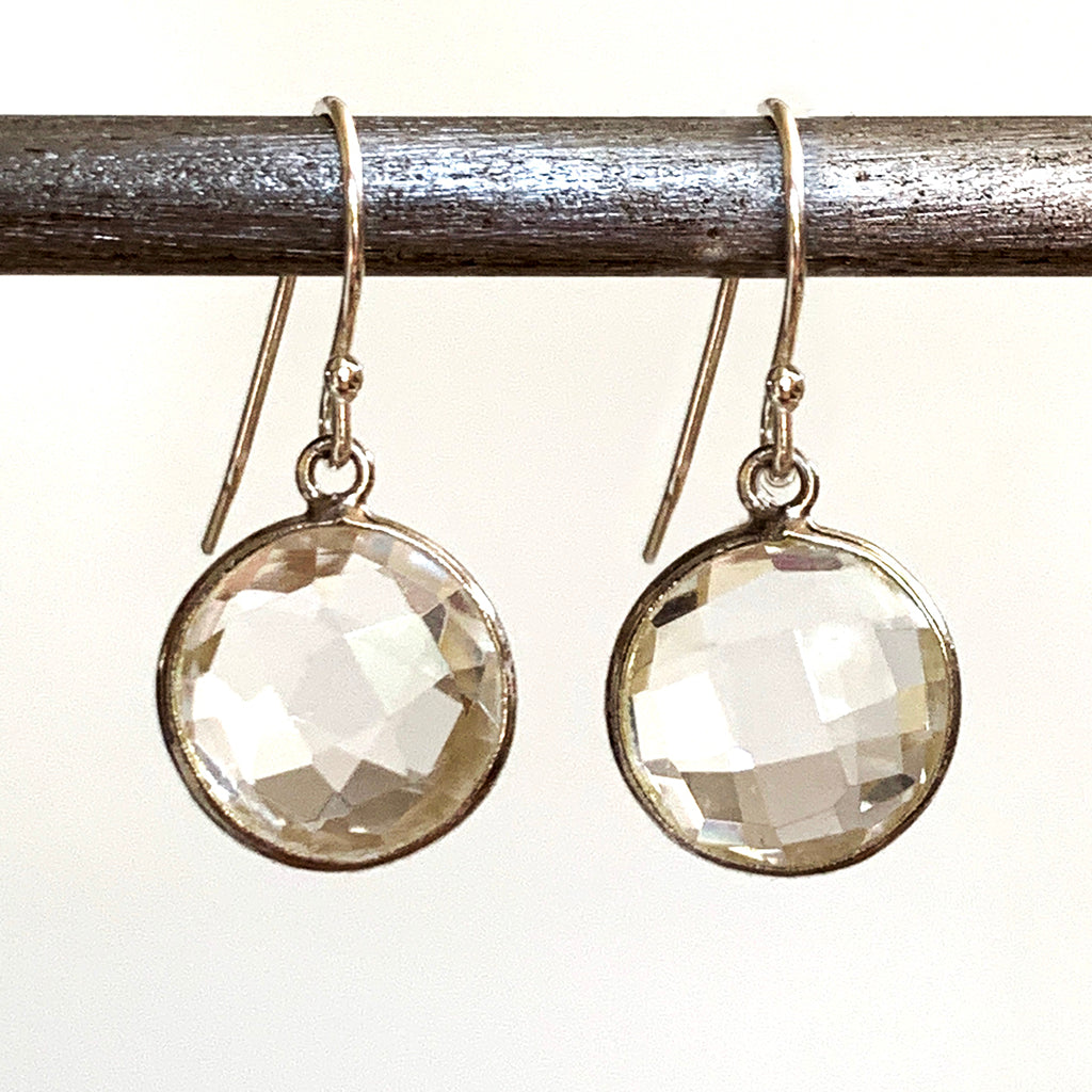Faceted Round Rock Crystal Earrings