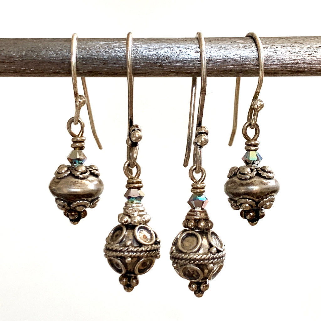 Small Elaborate Silver Bead Earrings
