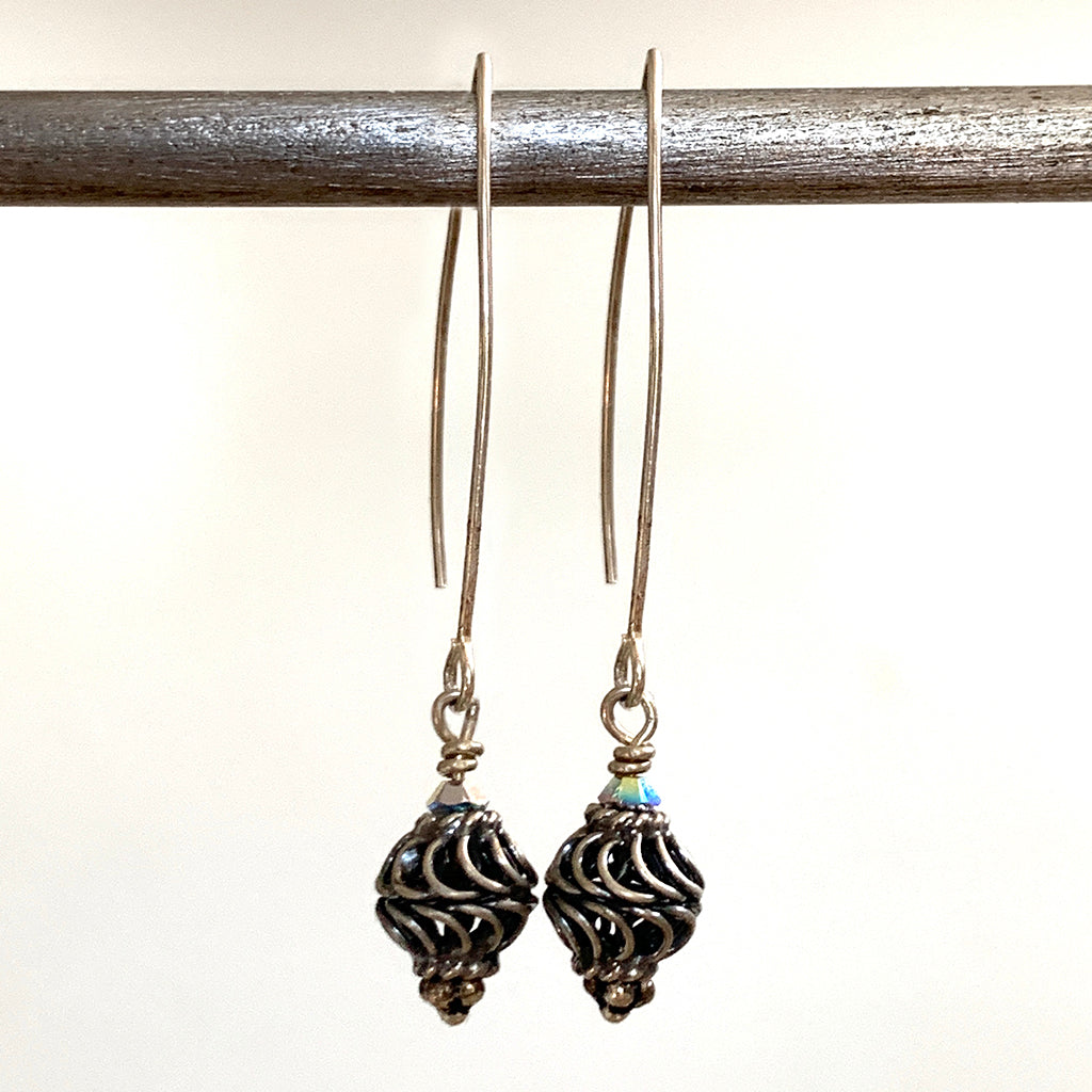 Silver Cage Bead Arc Earrings
