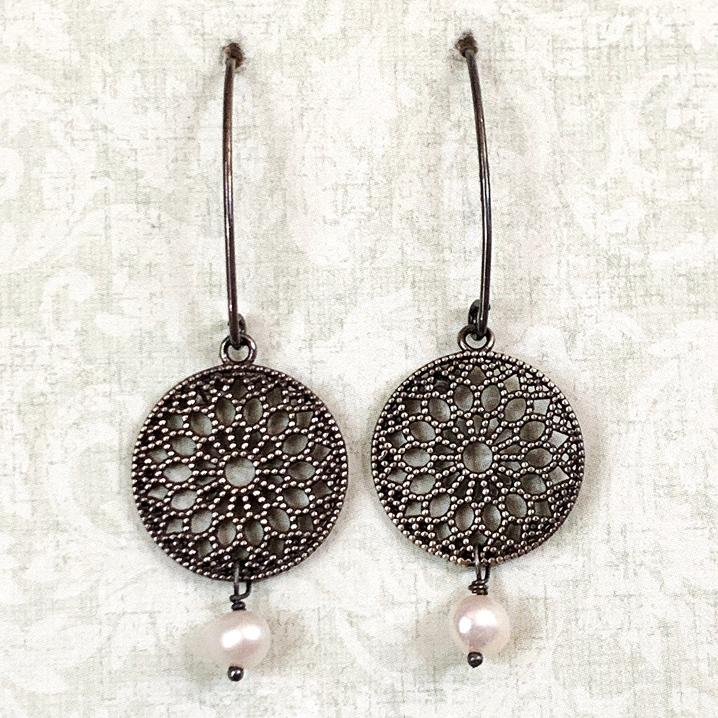Oxidised Silver Discs with Small Drop Pearl on Short Arc Earrings