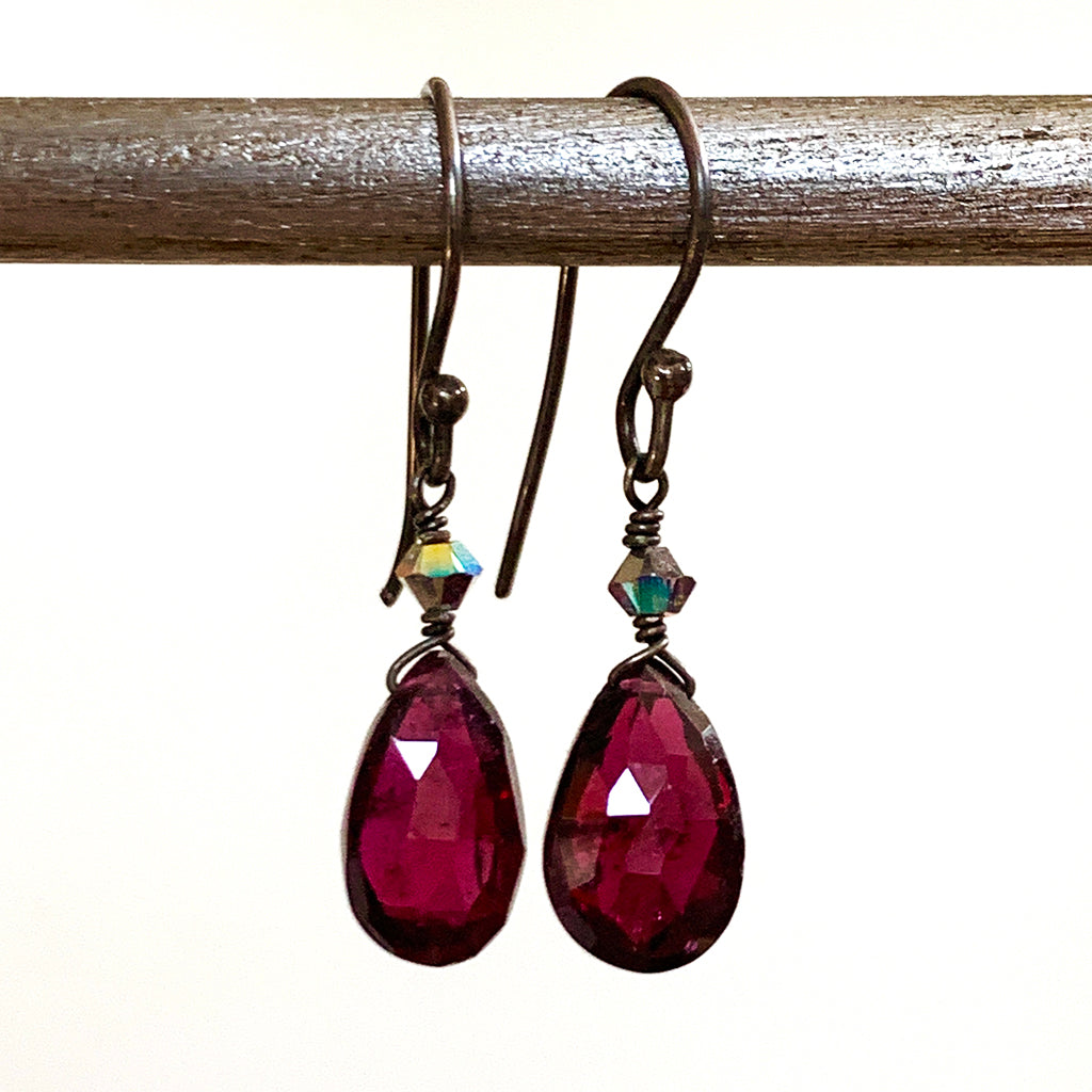 Small Faceted Rhodanite Garnet Briolette Earrings