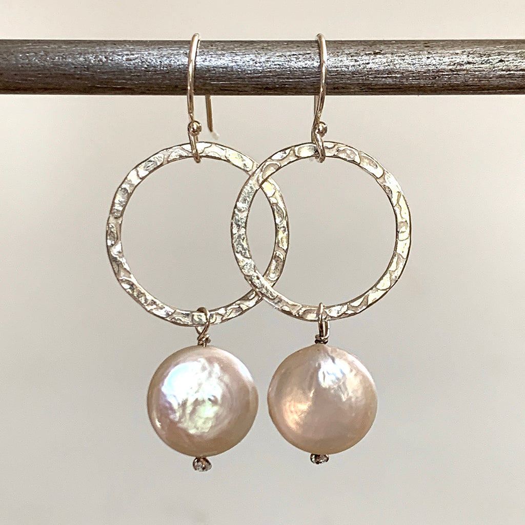 Silver Hoop With Coin Pearl Drop Earrings