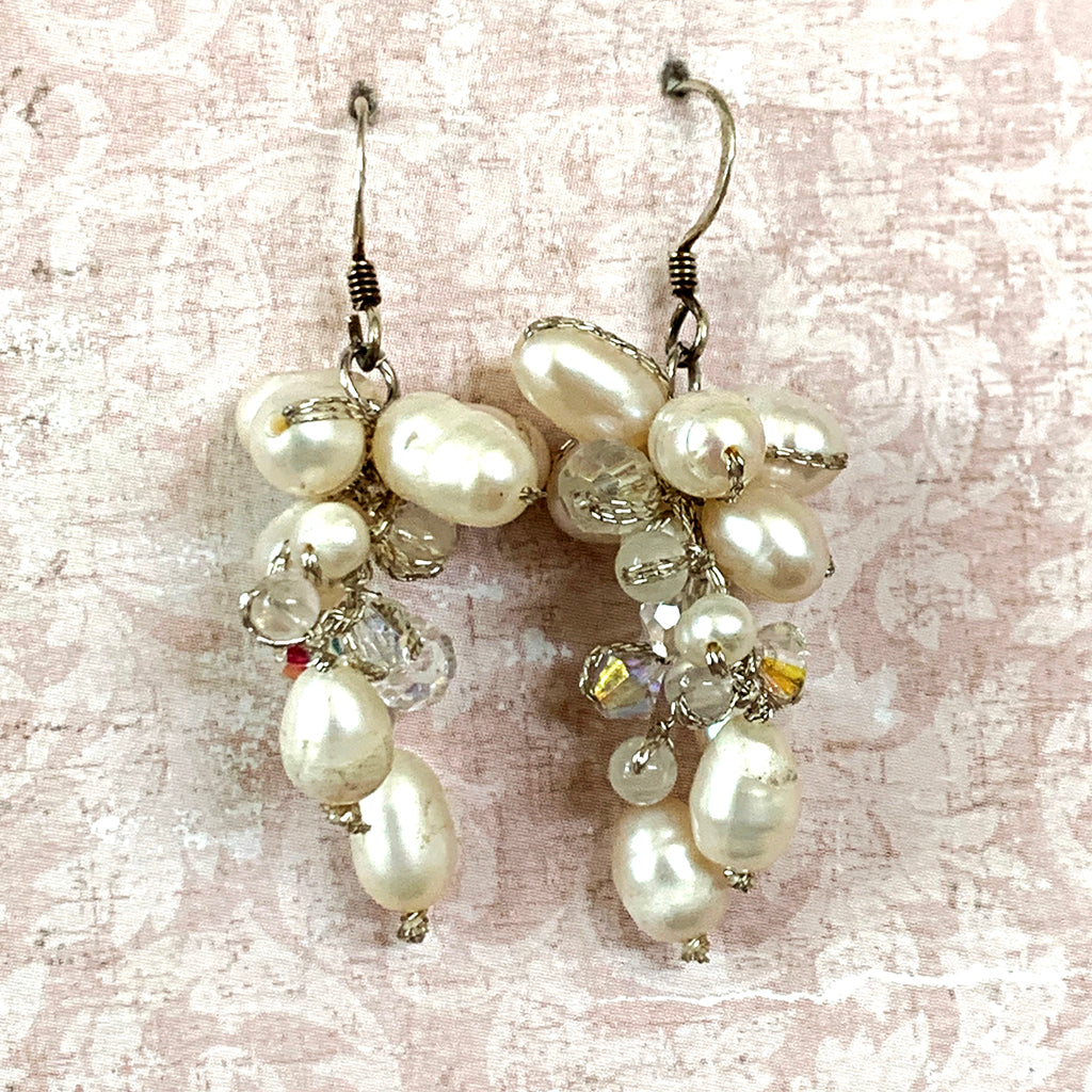 Pearl & Crystal Grape Style Earrings