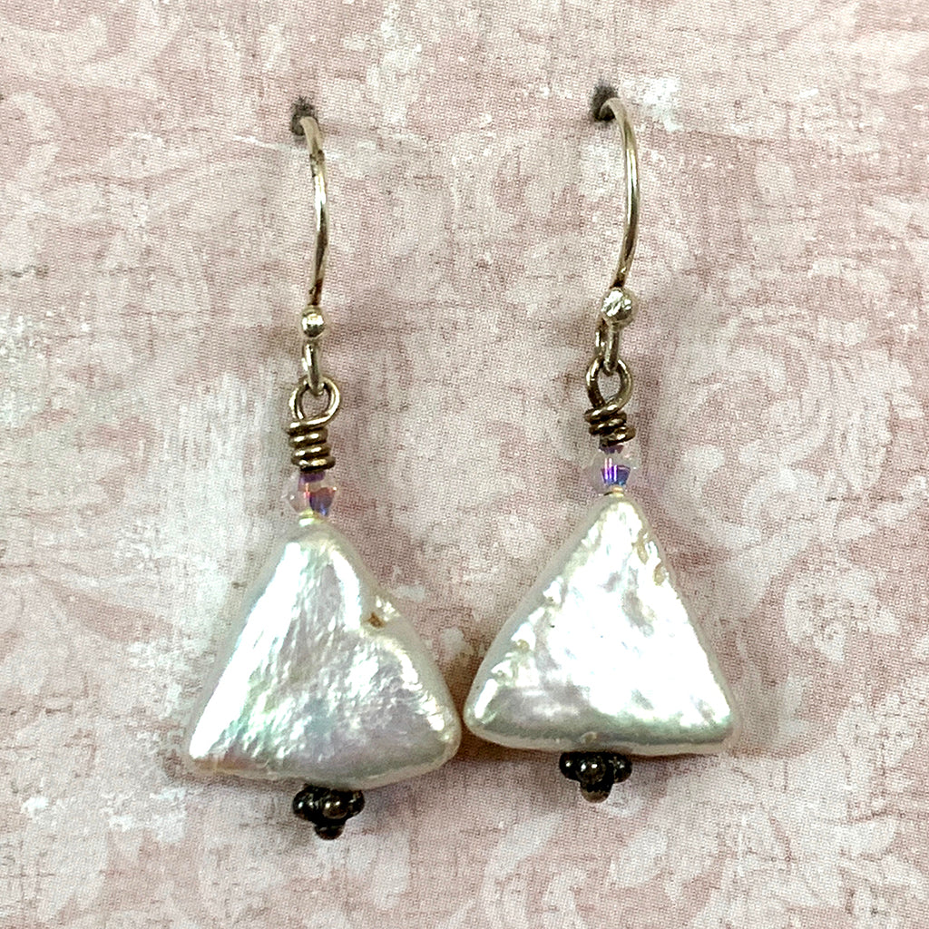 Triangular Pearl Earrings