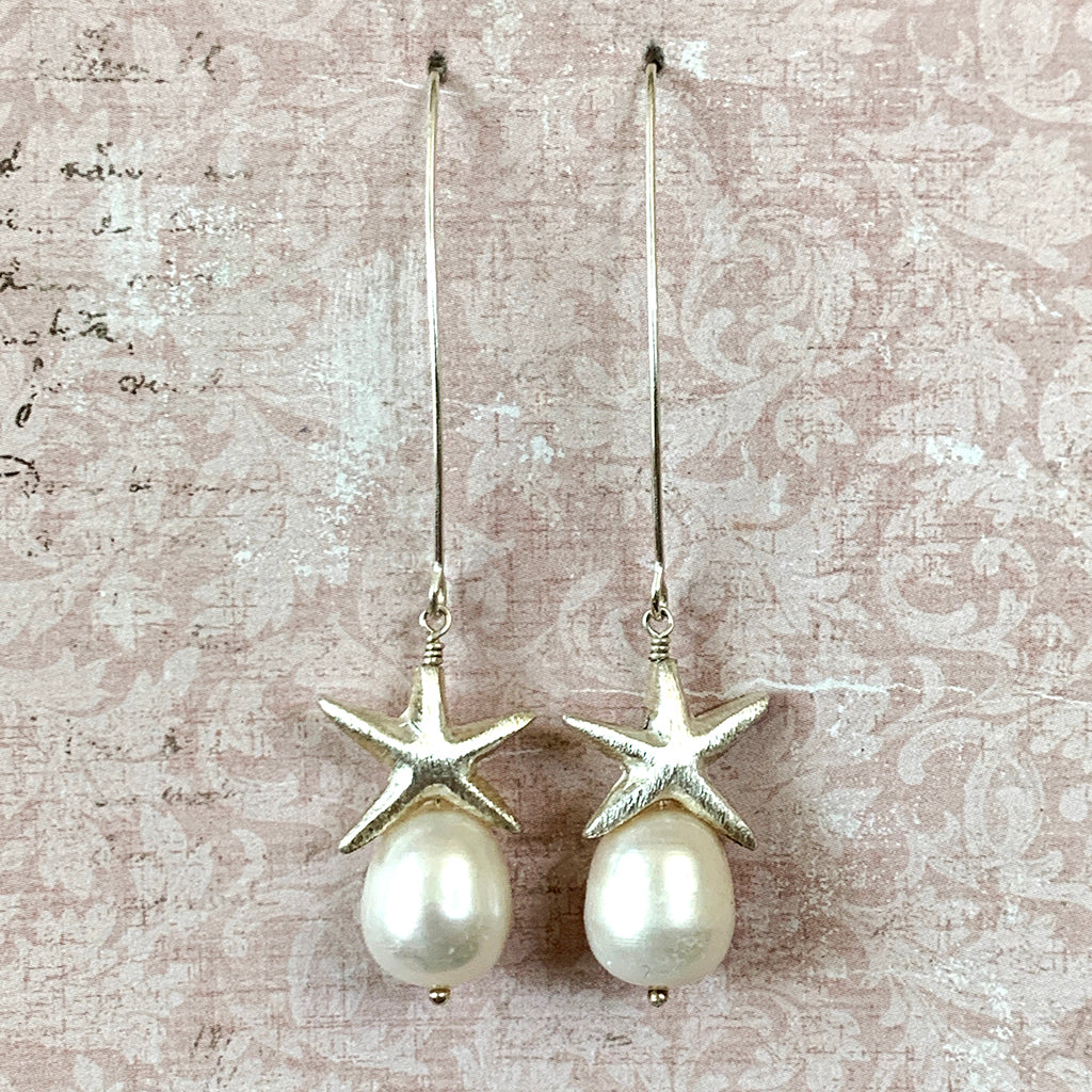 Silver Starfish & Large Pearl Arc Earrings