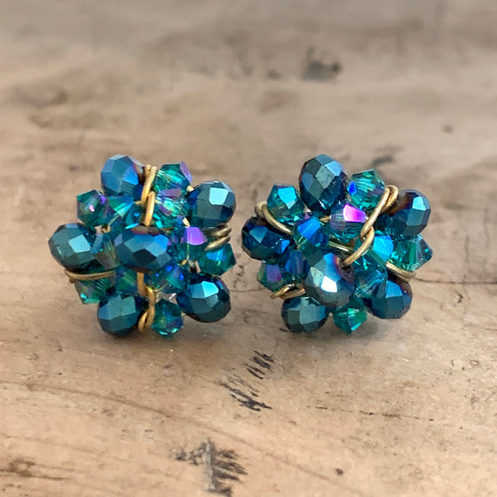 Turquoise Crystal Cluster Stud Earrings
