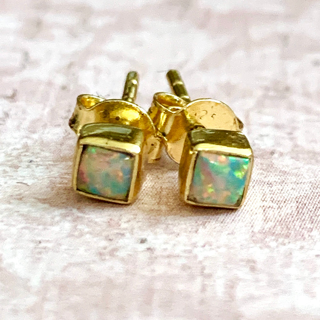 Genuine Opal Square Stud Earrings