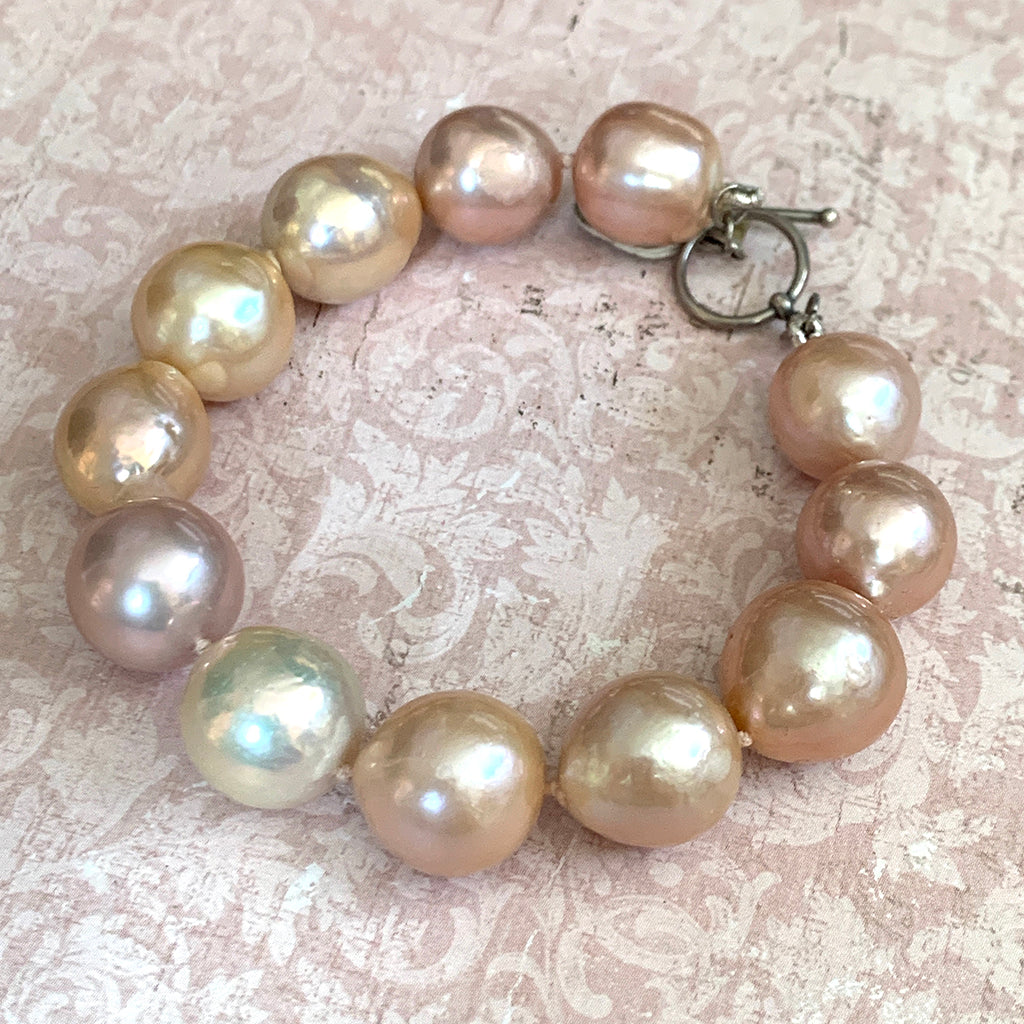 Extra Large Pink Baroque Pearl Bracelet