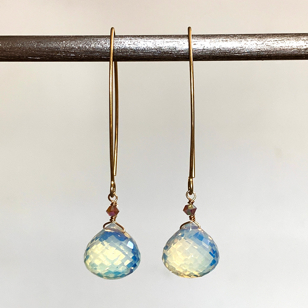 Laser Cut Multi-Faceted Opalite Drops on Gold Arcs Earrings