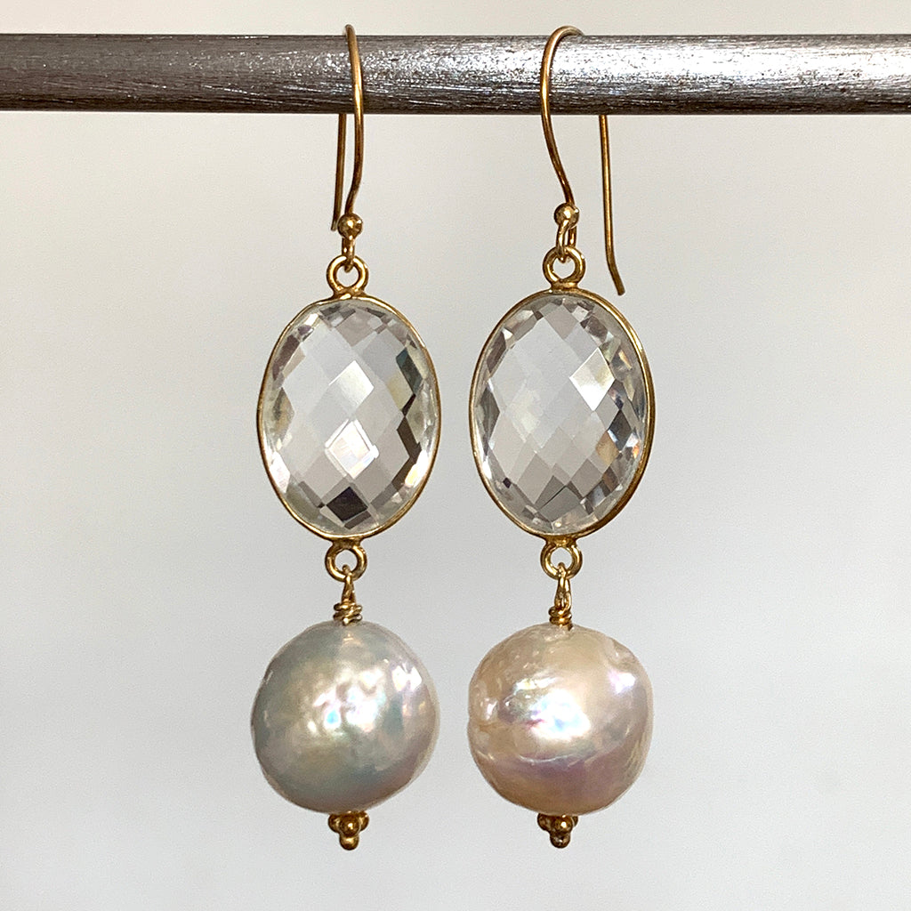 Extra Large Moon Pearl & Oval Rock Crystal Earrings