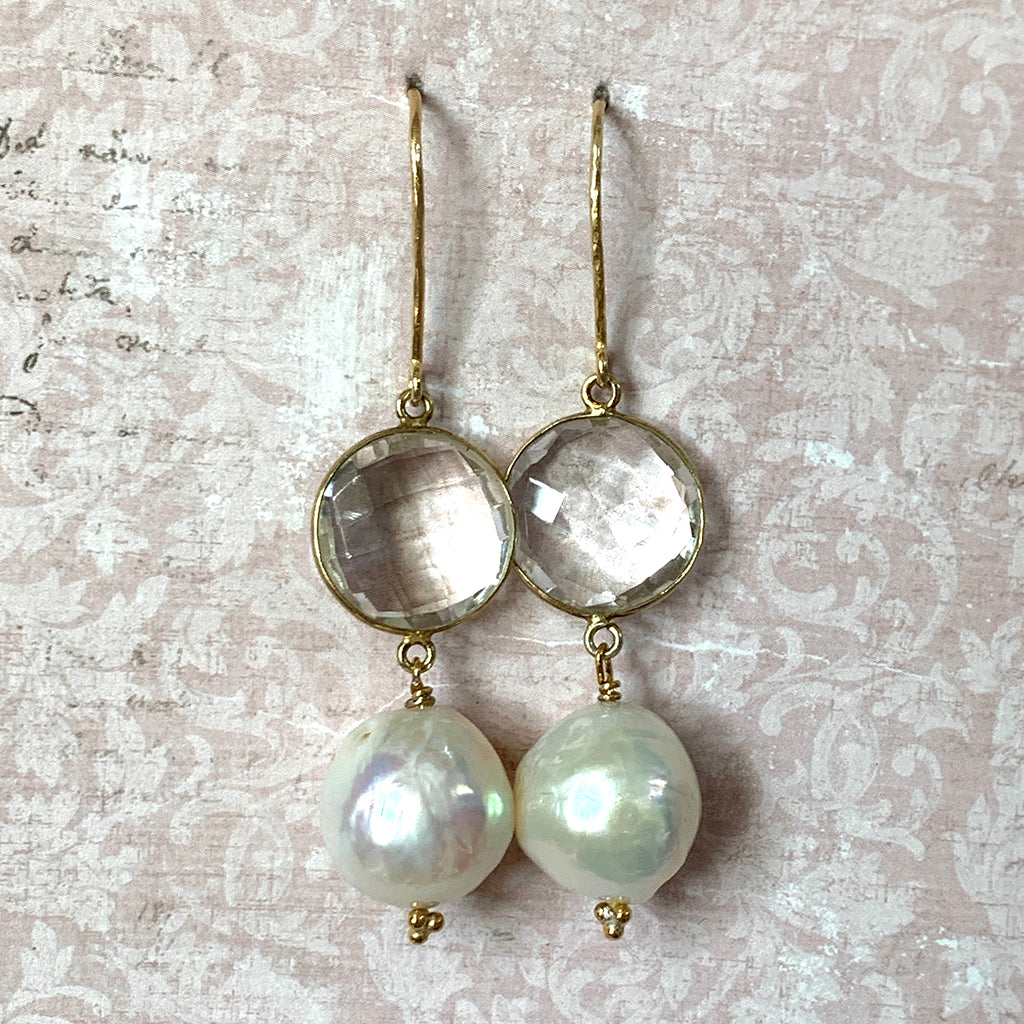 Extra Large Moon Pearl & Round Rock Crystal Earrings