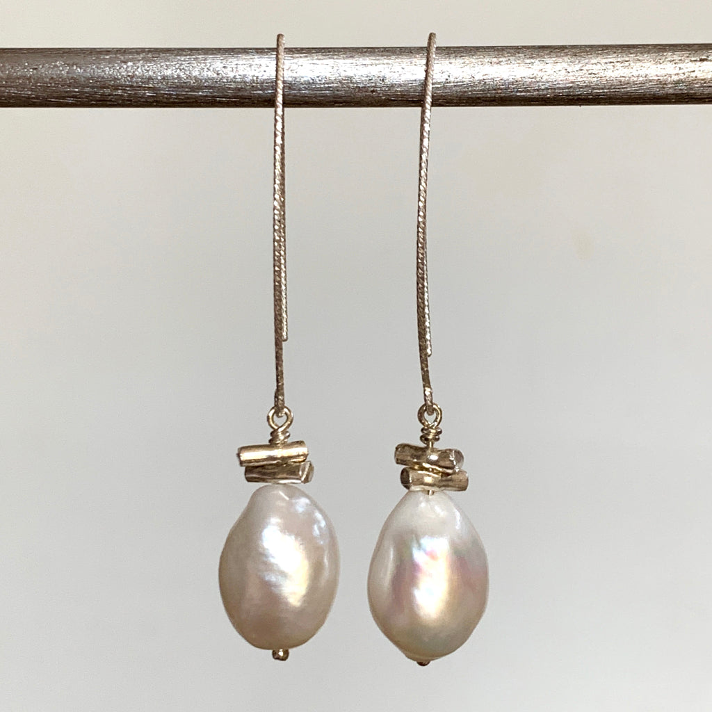 Large Baroque Drop Pearl and Silver Tube Arc Earrings