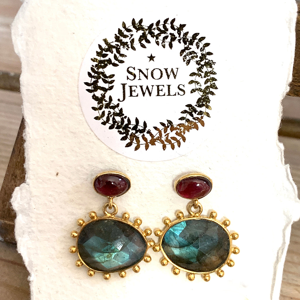 Dotted Labradorite and Garnet Earrings