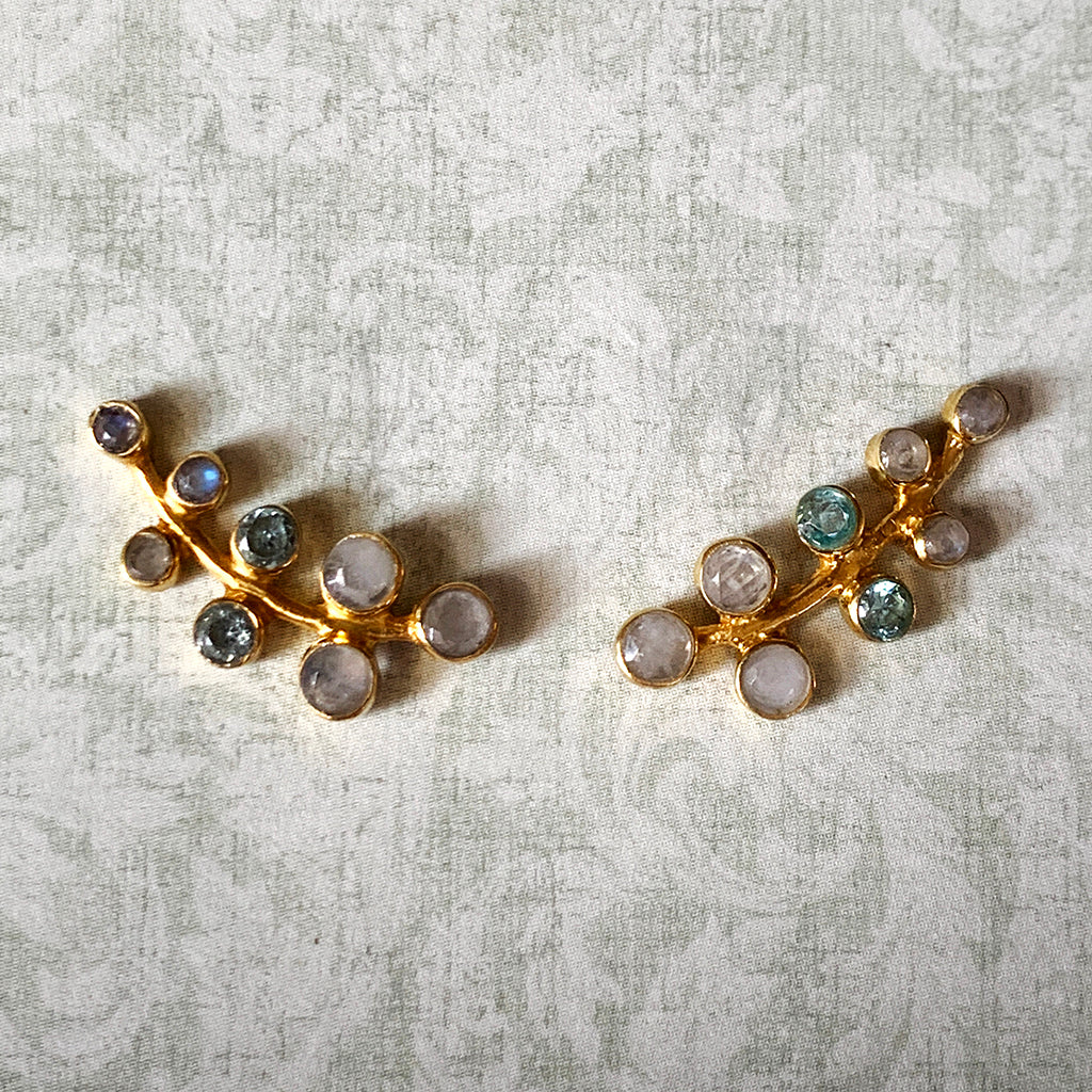 Moonstone and White Sapphire Earwing Earrings