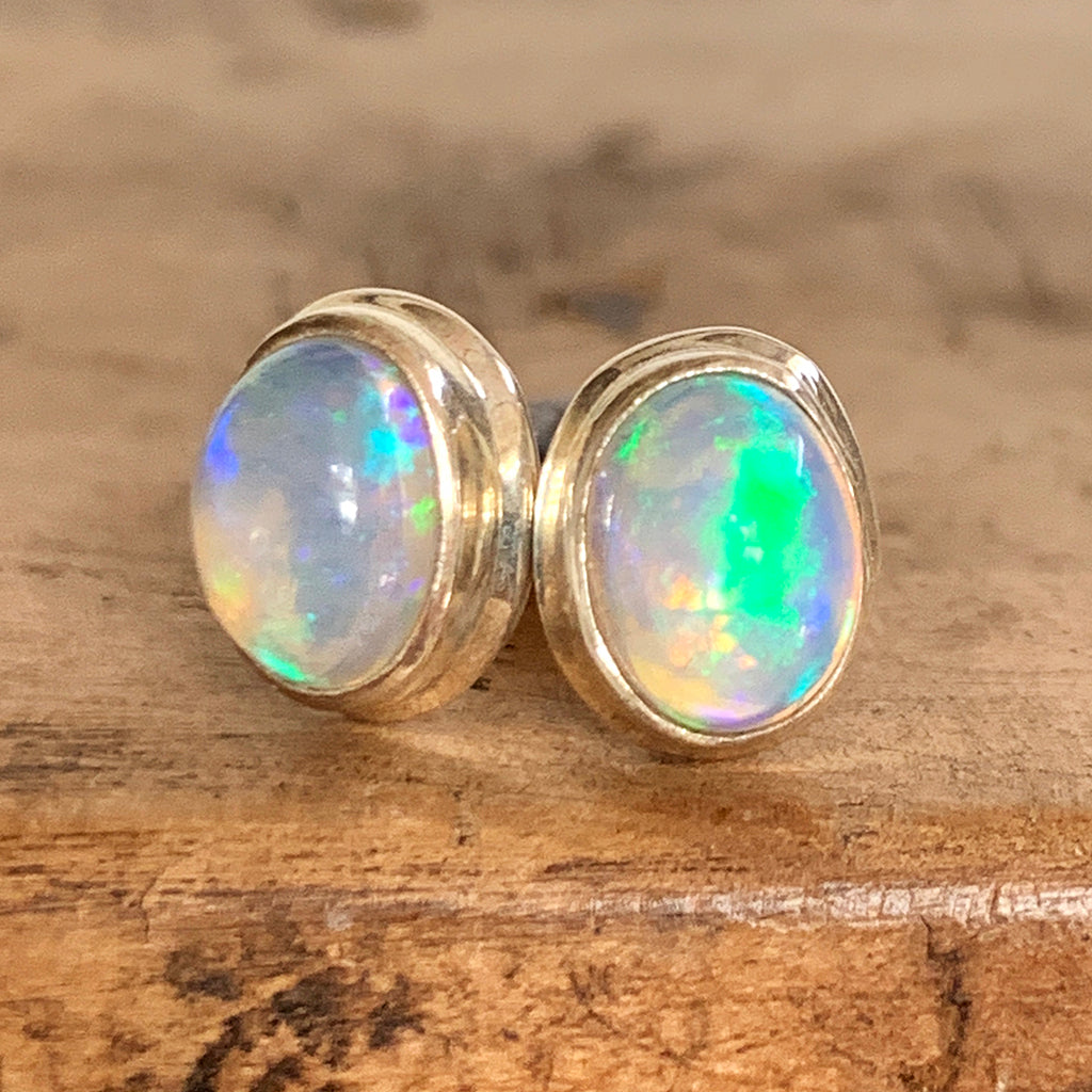 Ethiopian Opal and Silver Stud Earrings