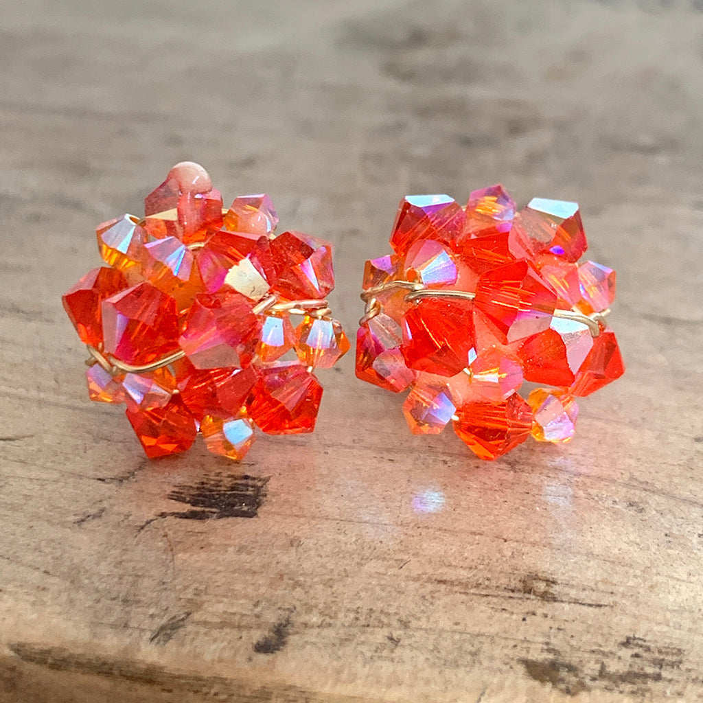 Orange Crystal Cluster Stud Earrings