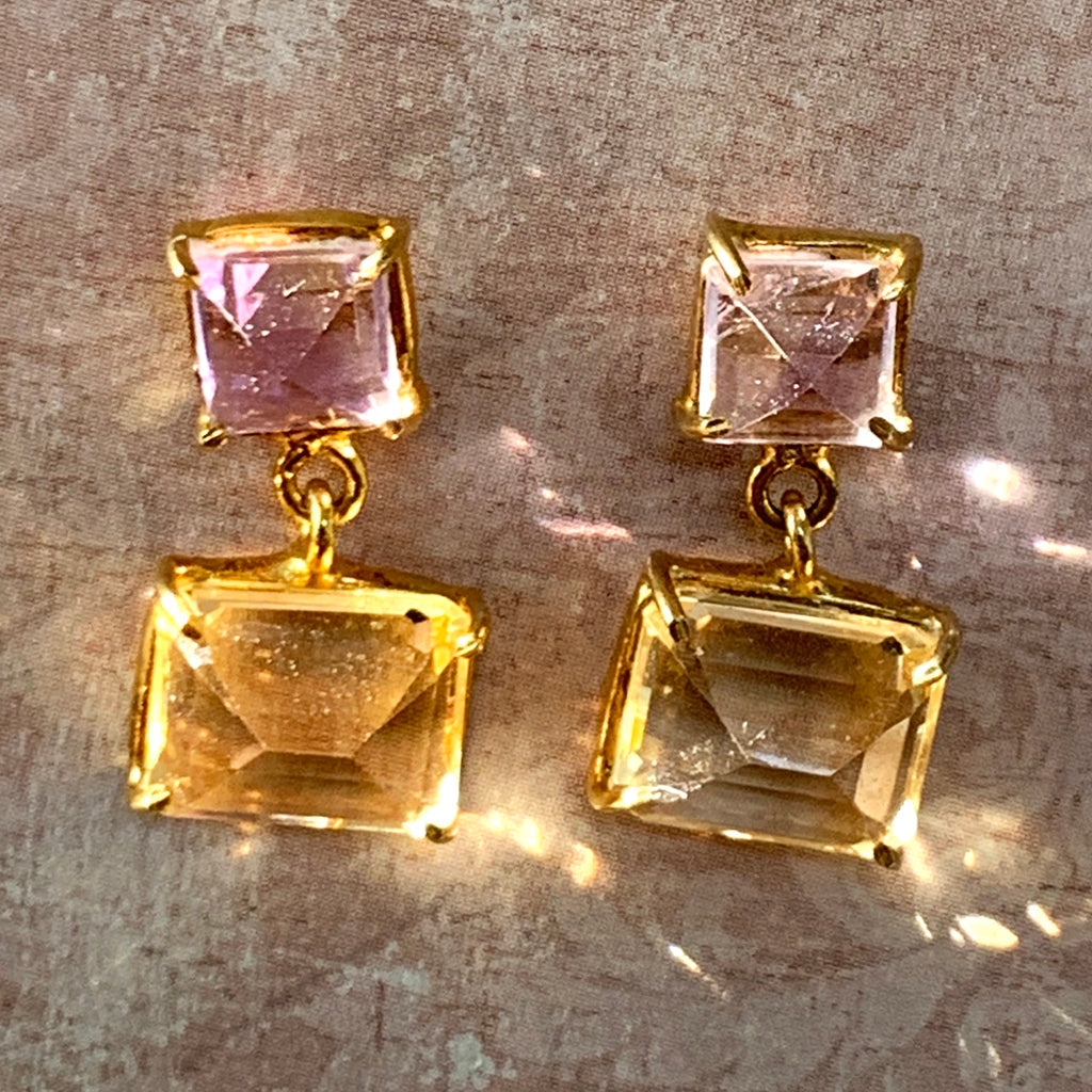 Pale Amethyst and Citreen Earrings