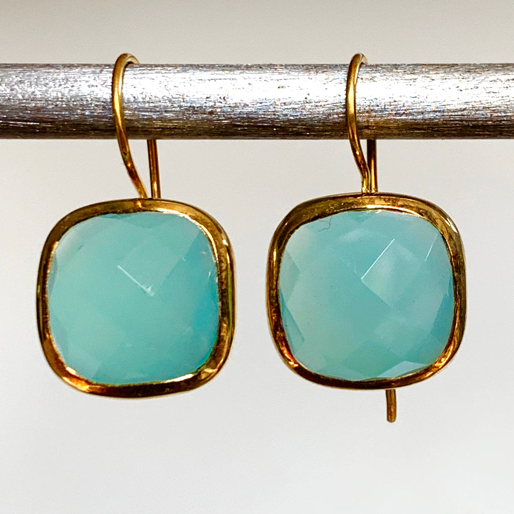 Large Faceted Cushion Cut Aqua Chalcedony Earrings