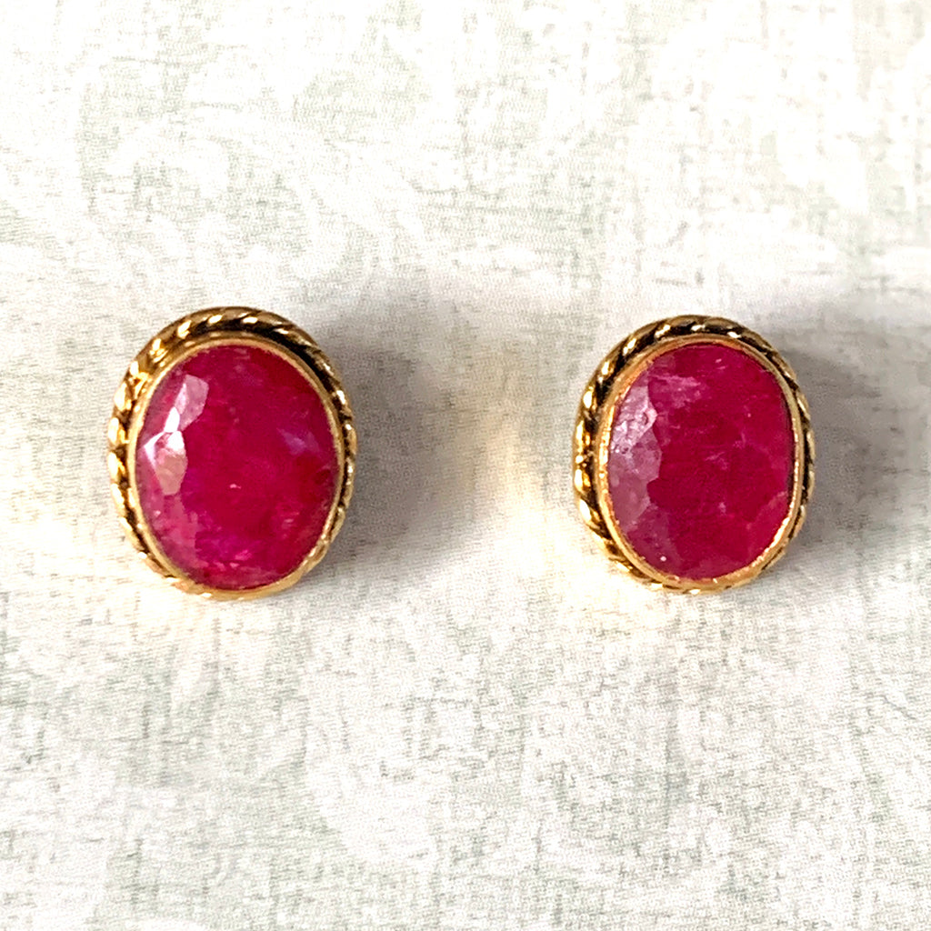Large Oval Ruby and Gold Stud Earrings