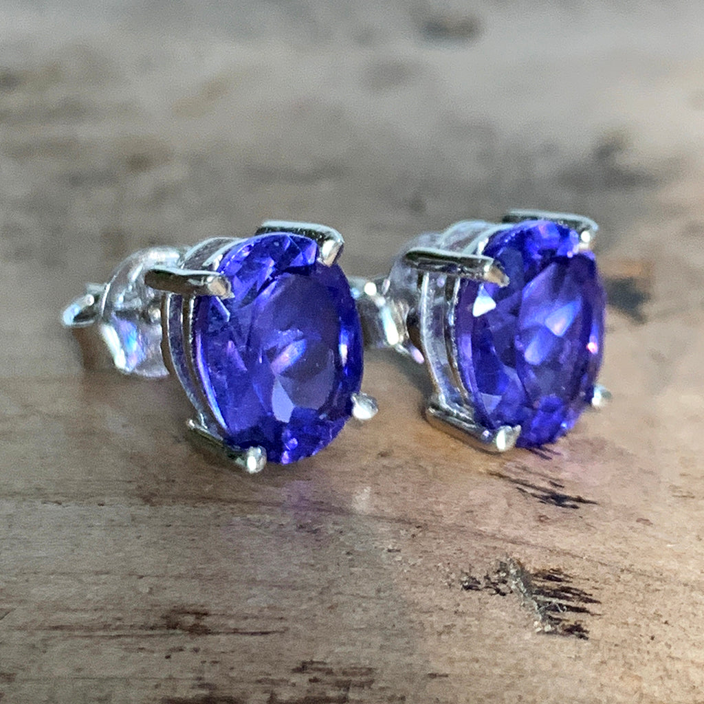 Tanzanite Cubic Zirconia Oval and Silver Stud Earrings