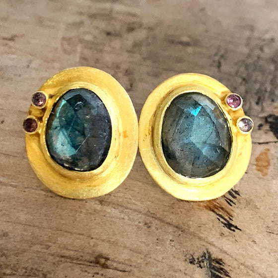 Faceted Labradorite and Topaz Large Stud Earrings
