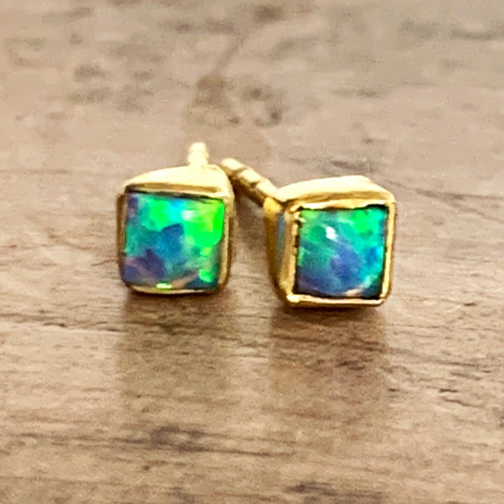 Small Square Genuine Opal Stud Earrings