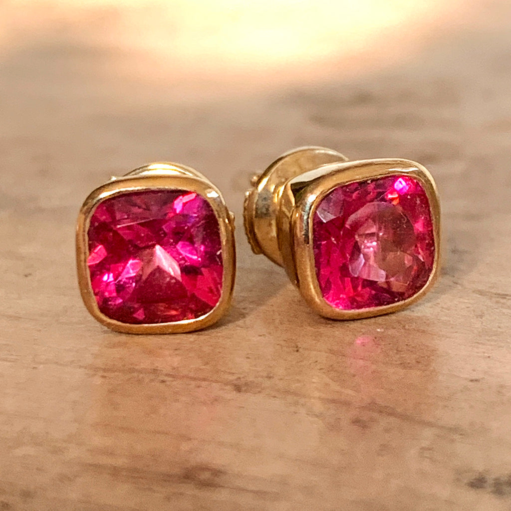 Pink Topaz Stud Earrings Hand Made in 9ct Gold