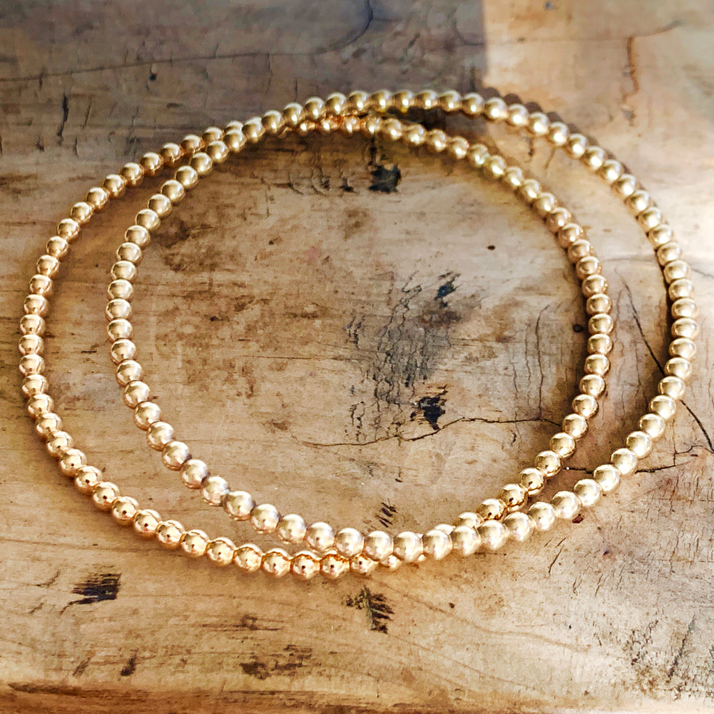 Heavy Gold Filled Beaded Bangle Bracelet