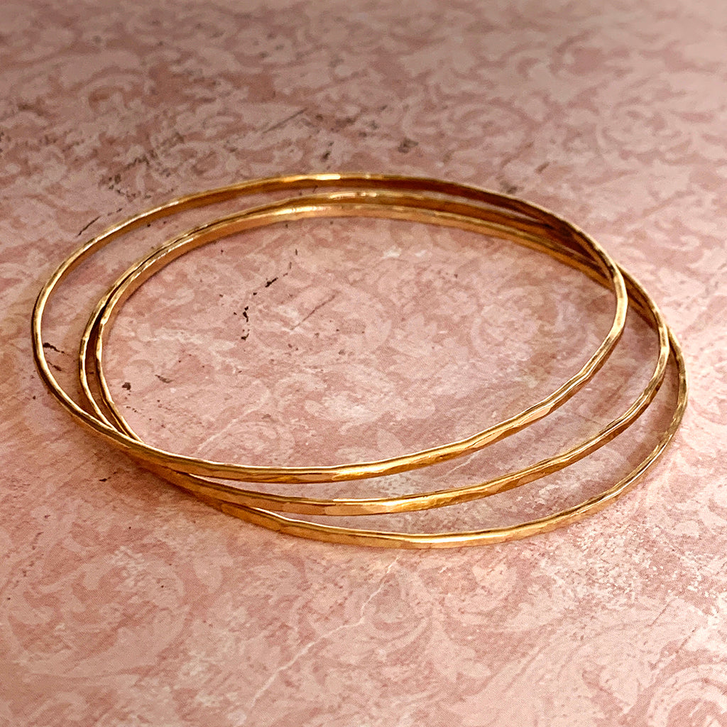 Beaten Finish Gold Filled Bangles
