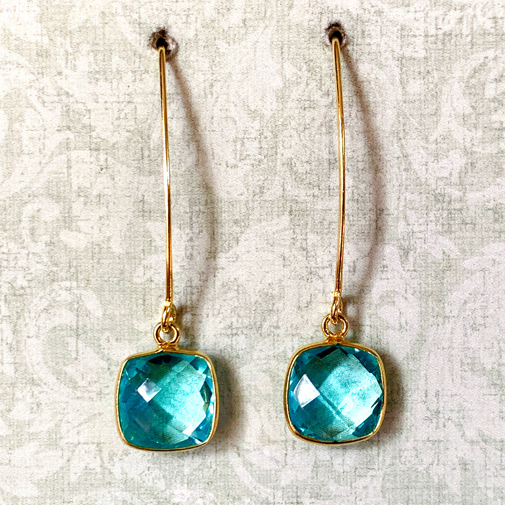 Faceted Aqua Crystal Arc Earrings