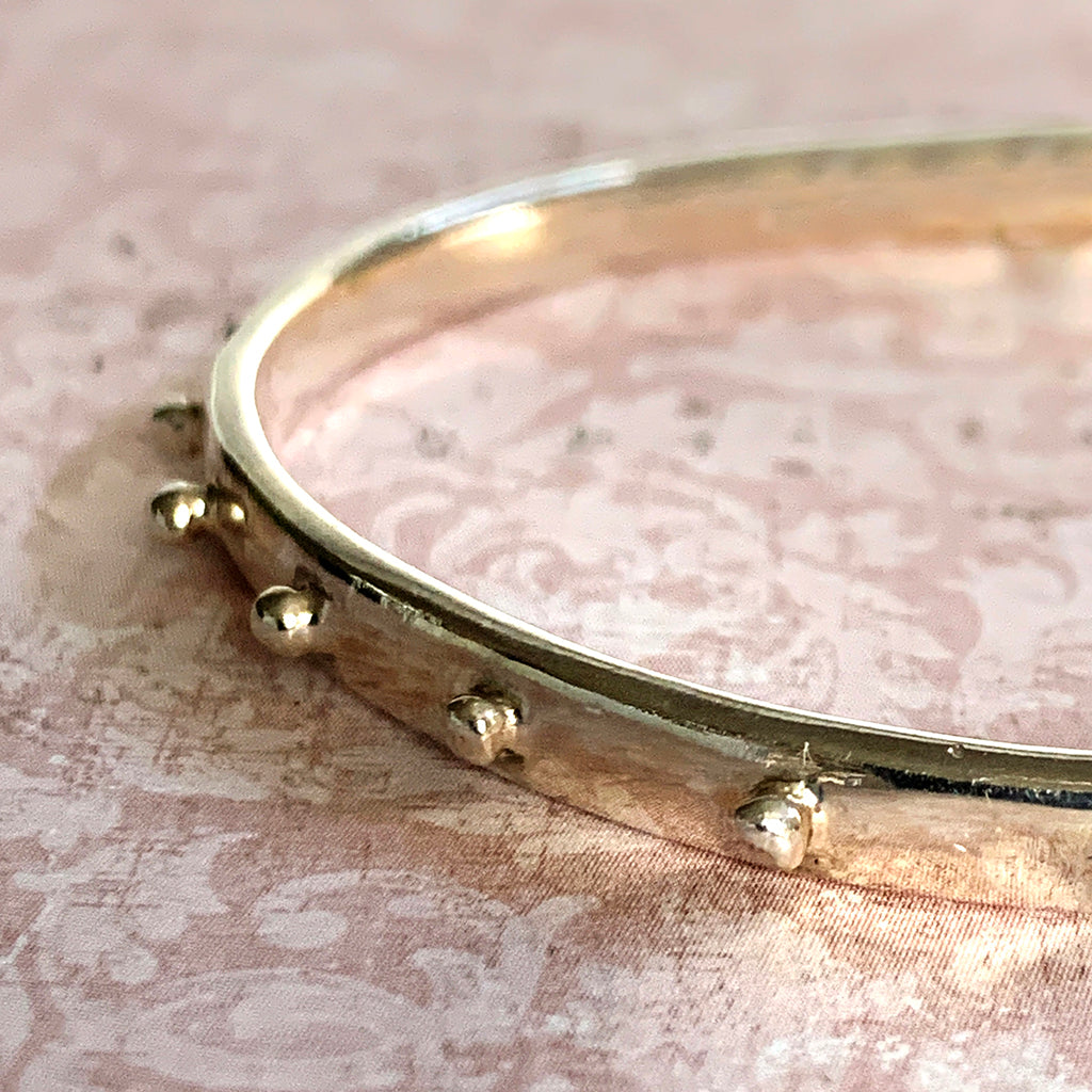 Handmade Solid Silver Heavy Dotted Bangle Bracelet