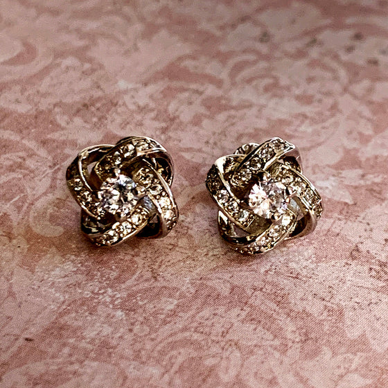 Silver Knot and Diamante Stud Earrings